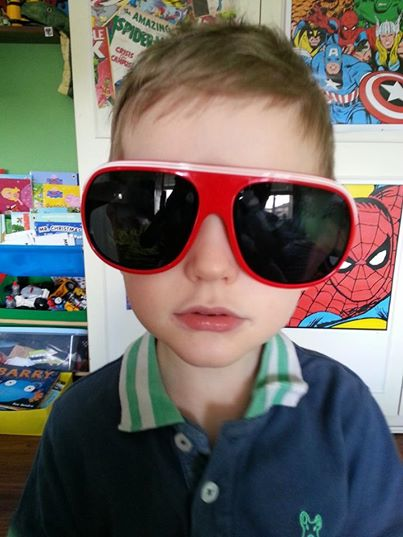 Dylan with spiderman glasses