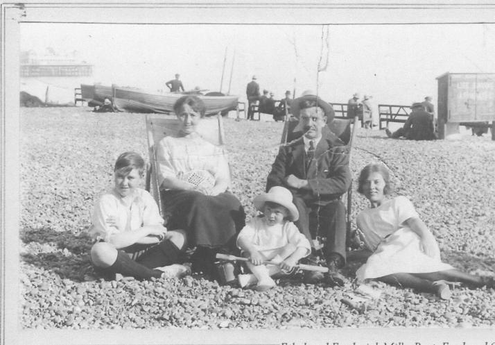 Fred Mills on beach with family circa 1921